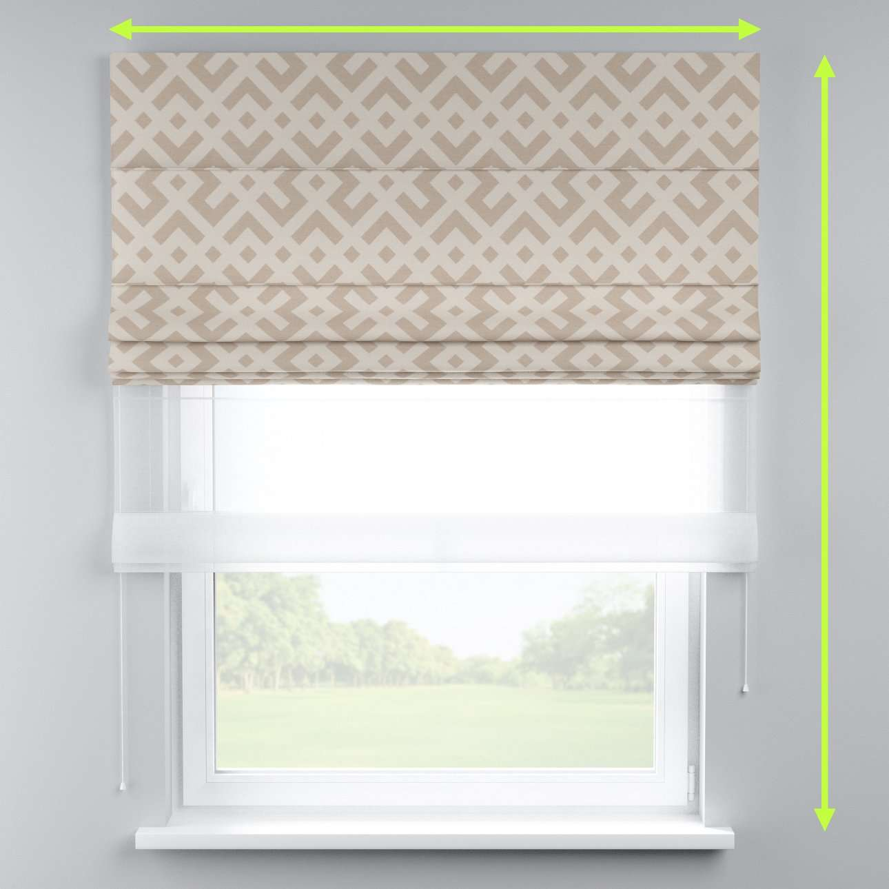 Voile and fabric roman blind (DUO II) in collection Rustica, fabric: 140-59
