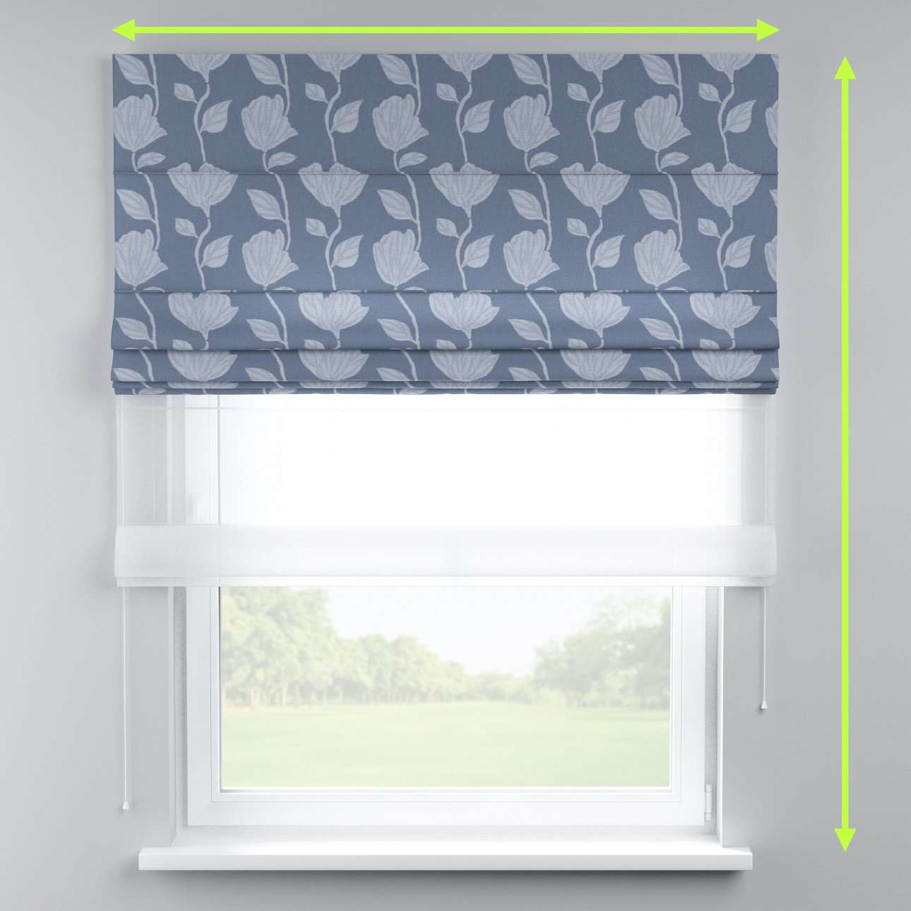 Voile and fabric roman blind (DUO II) in collection Venice, fabric: 140-61