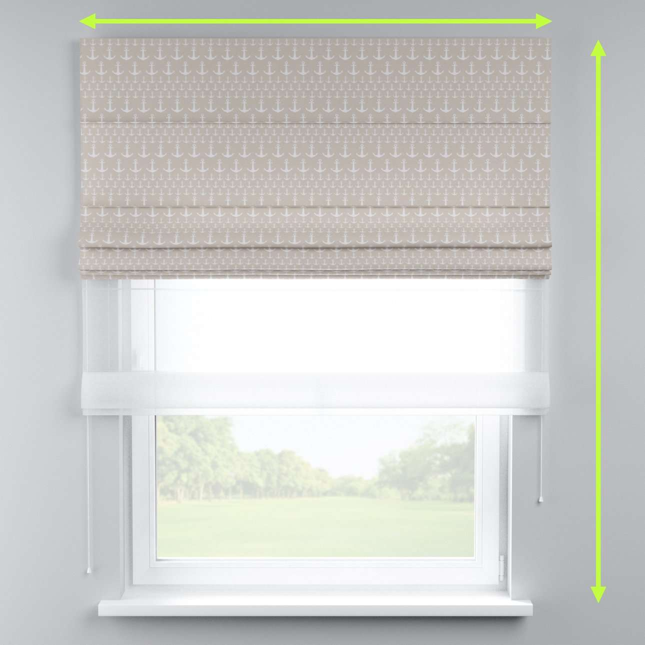 Voile and fabric roman blind (DUO II) in collection Marina, fabric: 140-63
