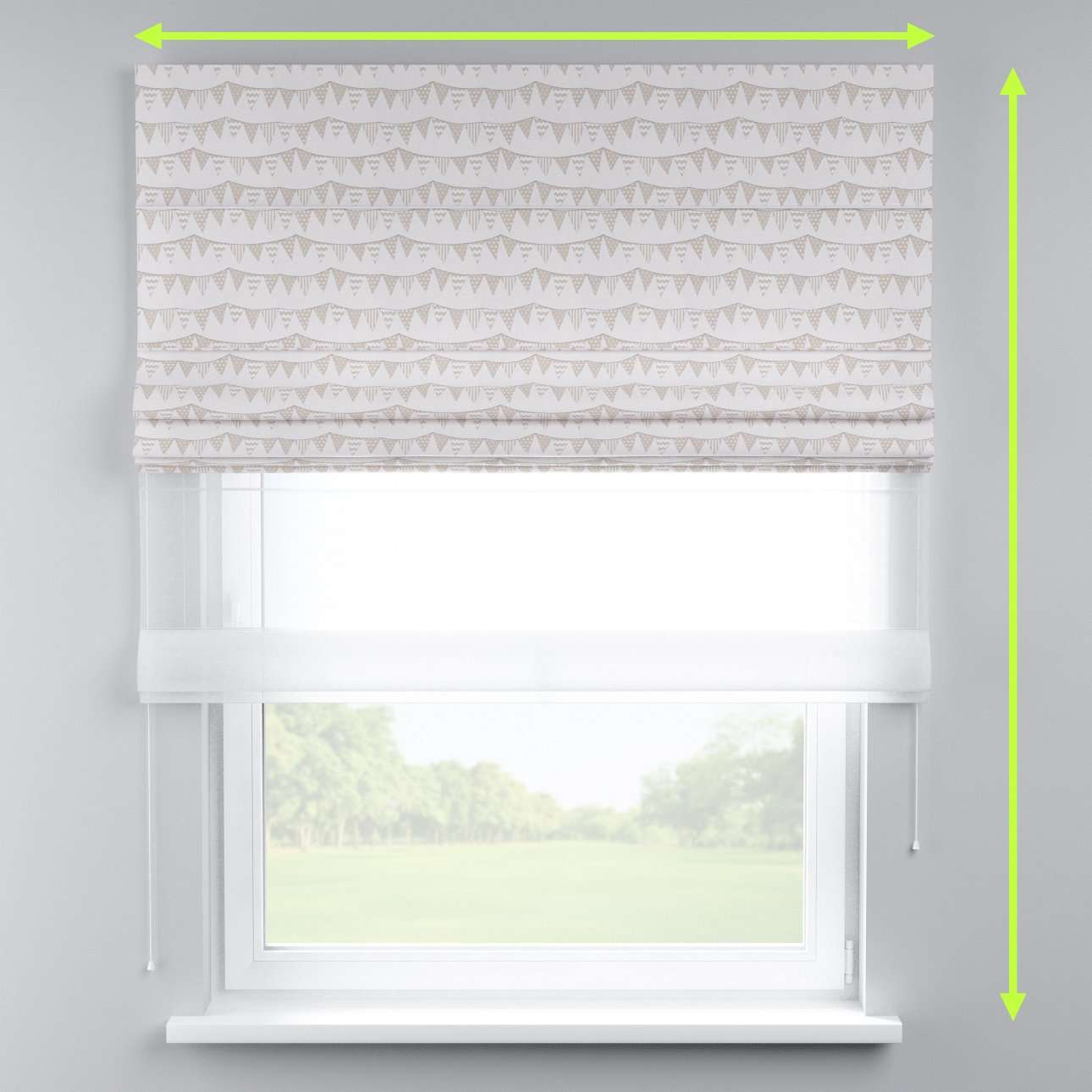 Voile and fabric roman blind (DUO II) in collection Marina, fabric: 140-65