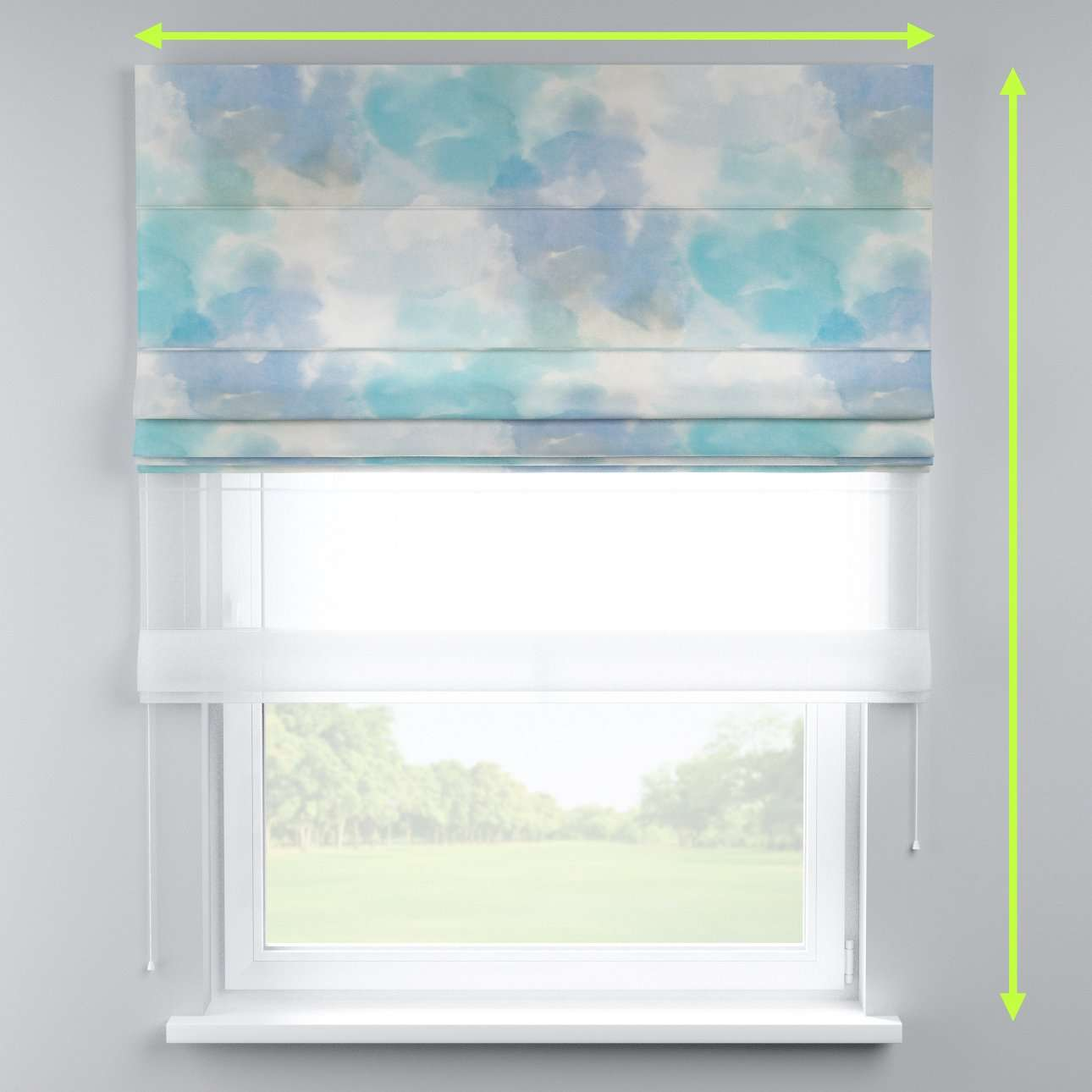 Voile and fabric roman blind (DUO II) in collection Aquarelle, fabric: 140-67