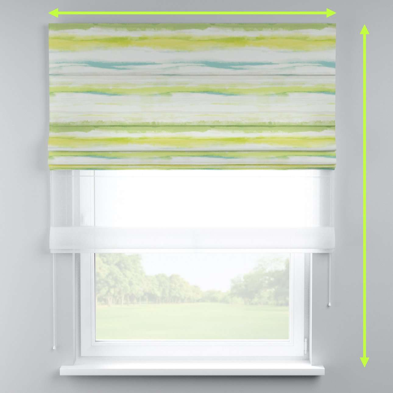 Voile and fabric roman blind (DUO II) in collection Aquarelle, fabric: 140-68