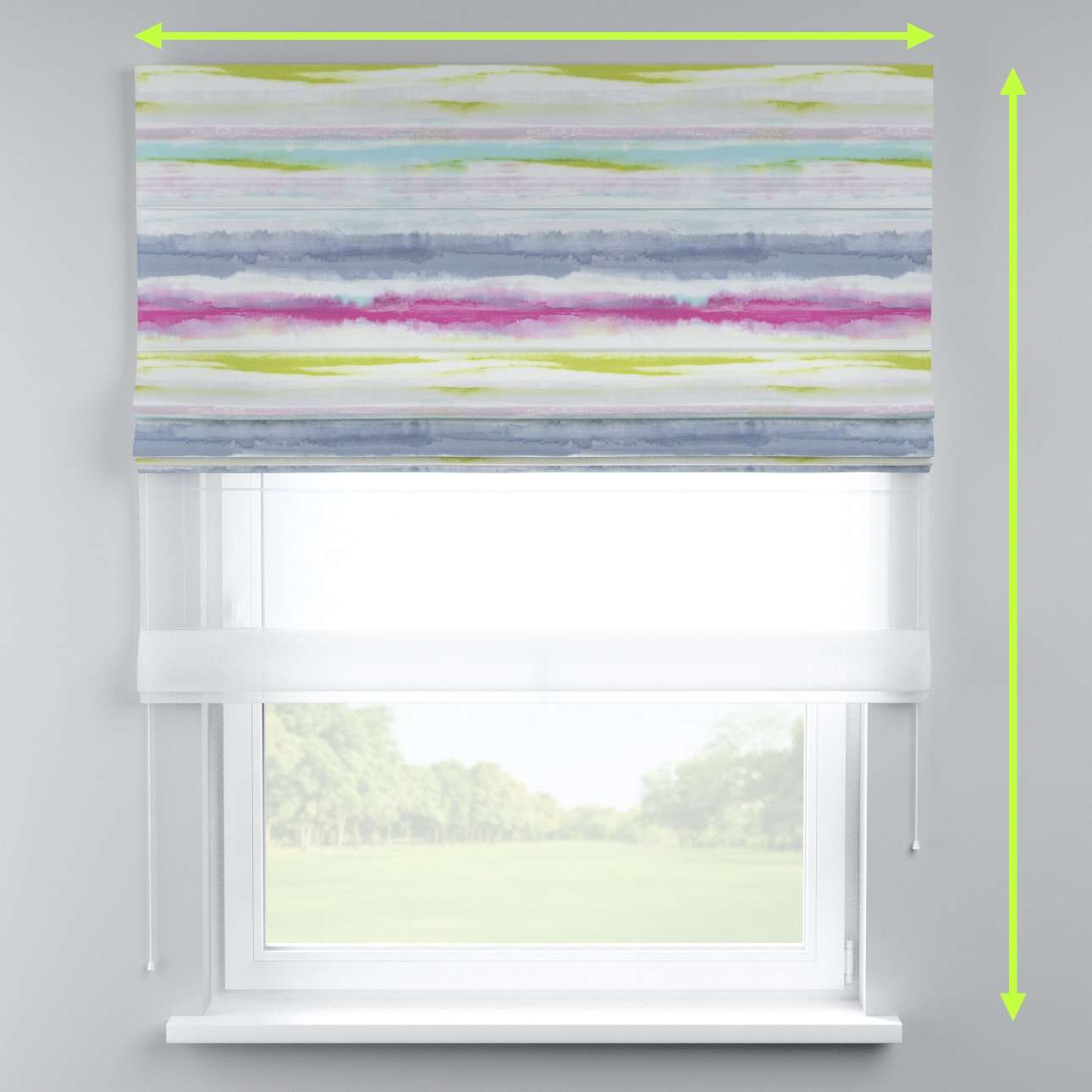 Voile and fabric roman blind (DUO II) in collection Aquarelle, fabric: 140-69