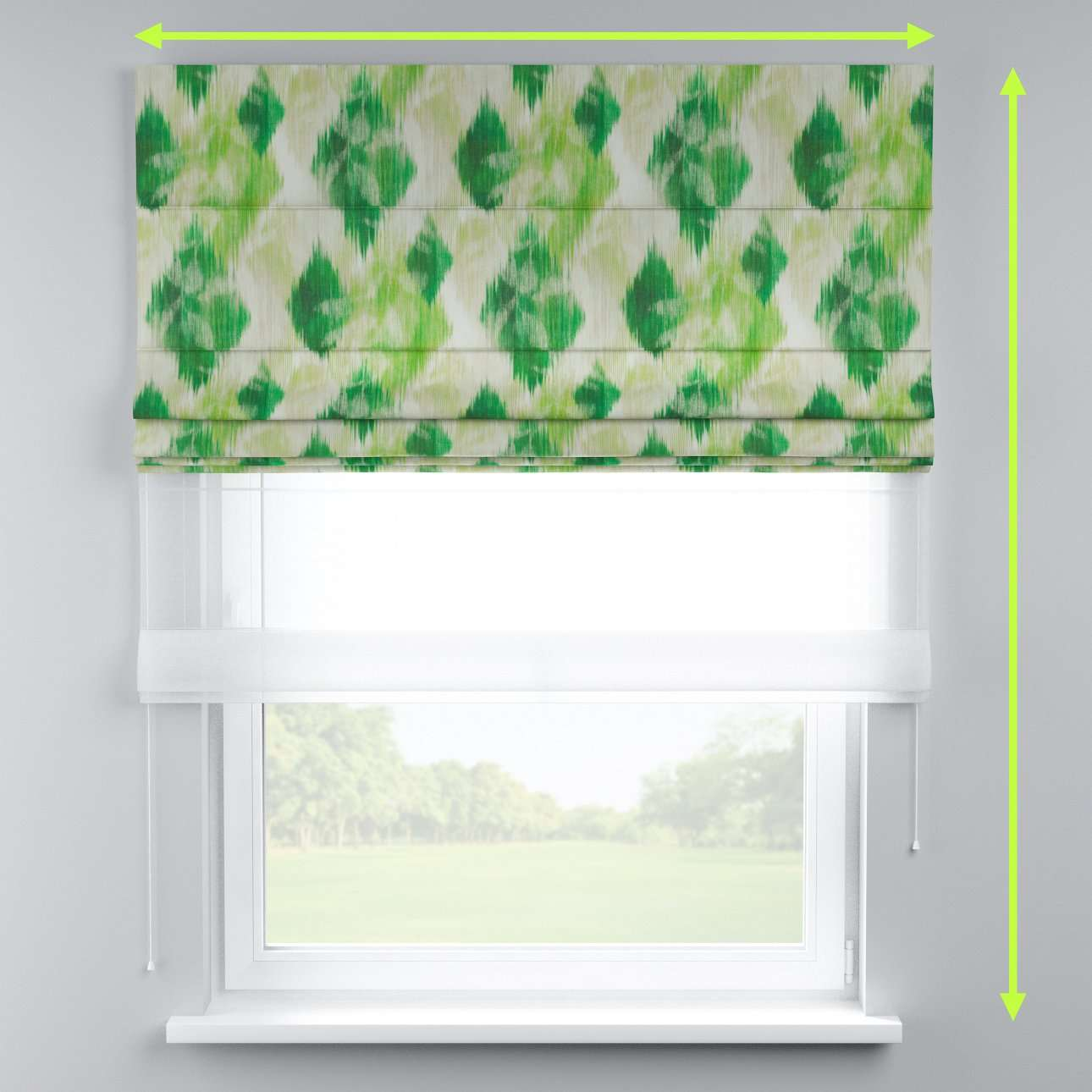 Voile and fabric roman blind (DUO II) in collection Aquarelle, fabric: 140-70