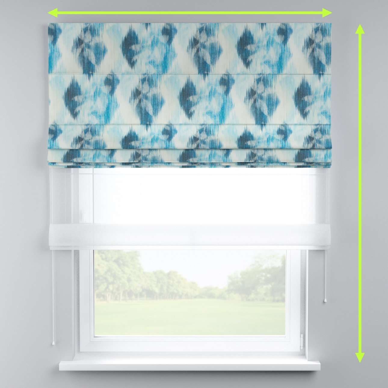 Voile and fabric roman blind (DUO II) in collection Aquarelle, fabric: 140-71