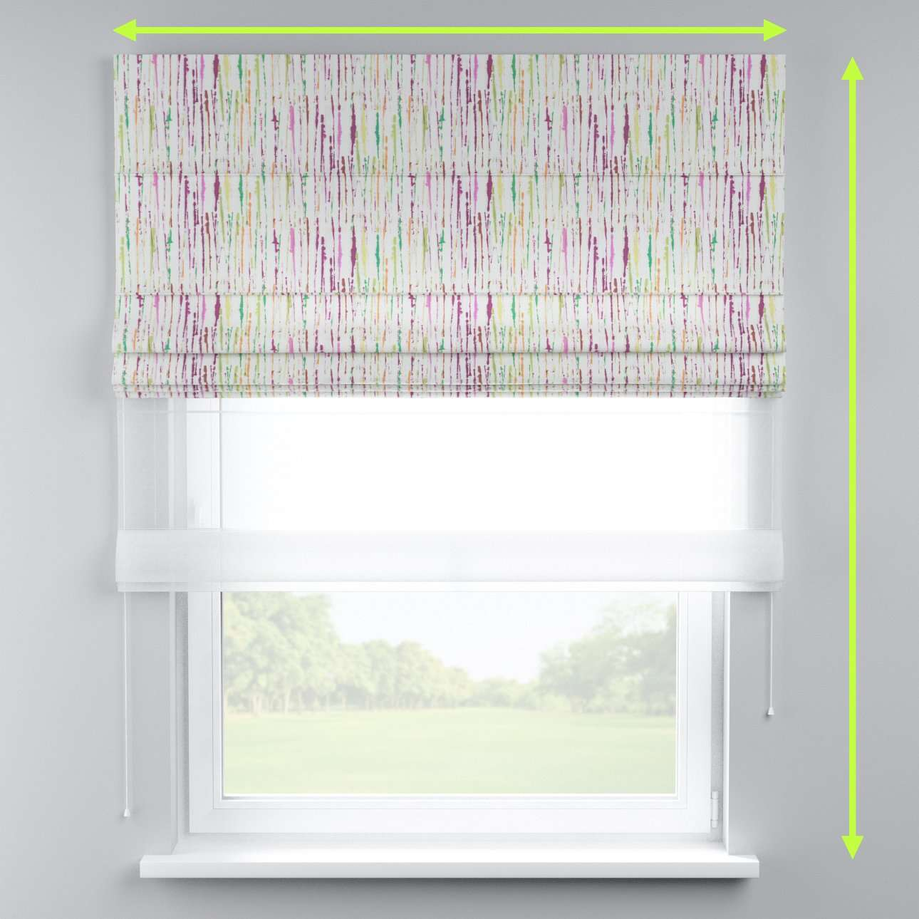 Voile and fabric roman blind (DUO II) in collection Aquarelle, fabric: 140-72