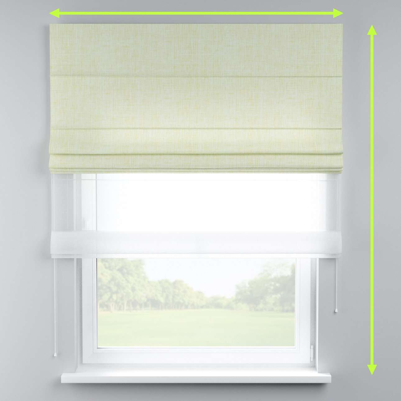 Voile and fabric roman blind (DUO II) in collection Aquarelle, fabric: 140-73