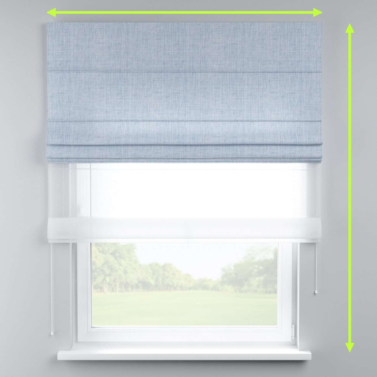 Voile and fabric roman blind (DUO II) in collection Aquarelle, fabric: 140-74