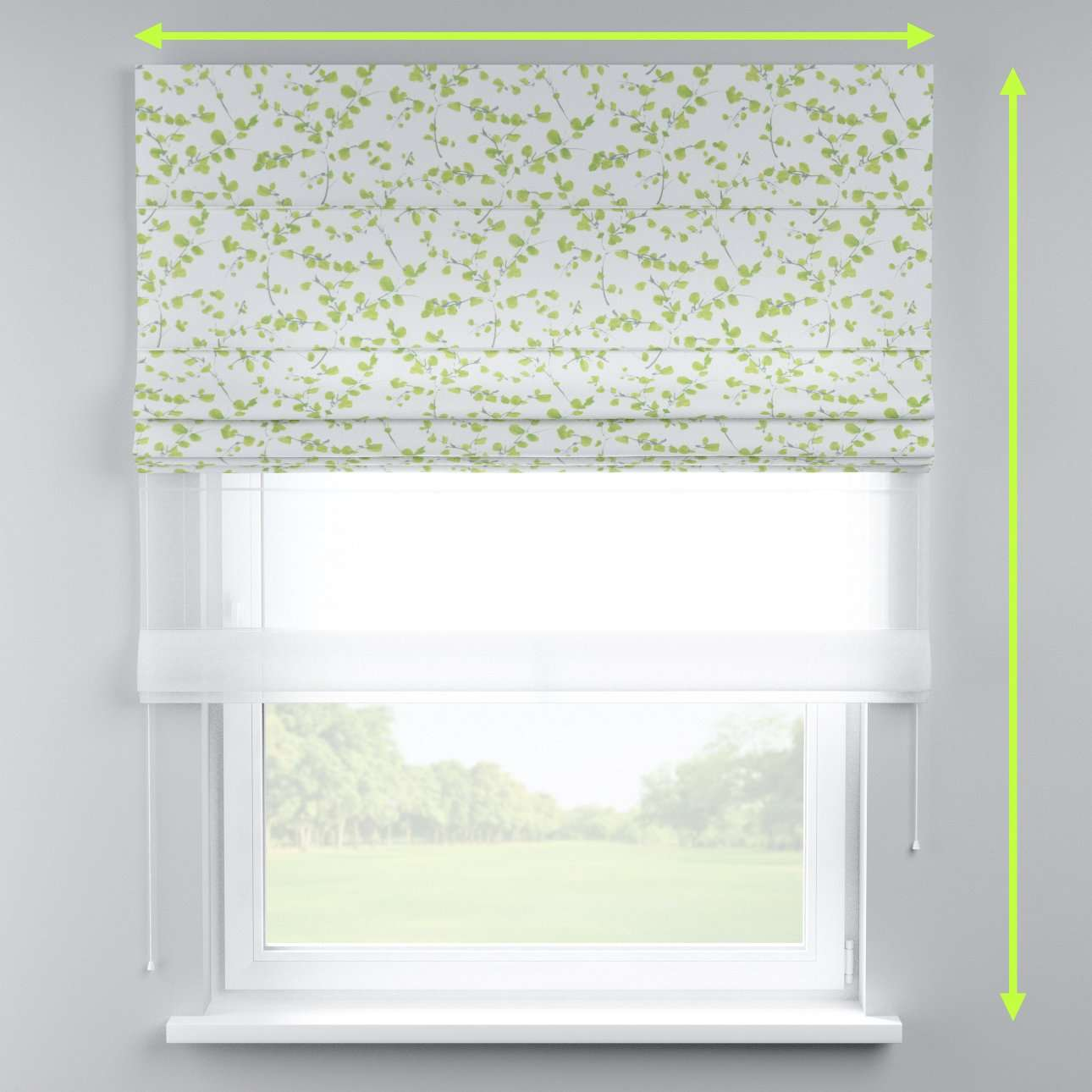 Voile and fabric roman blind (DUO II) in collection Aquarelle, fabric: 140-76