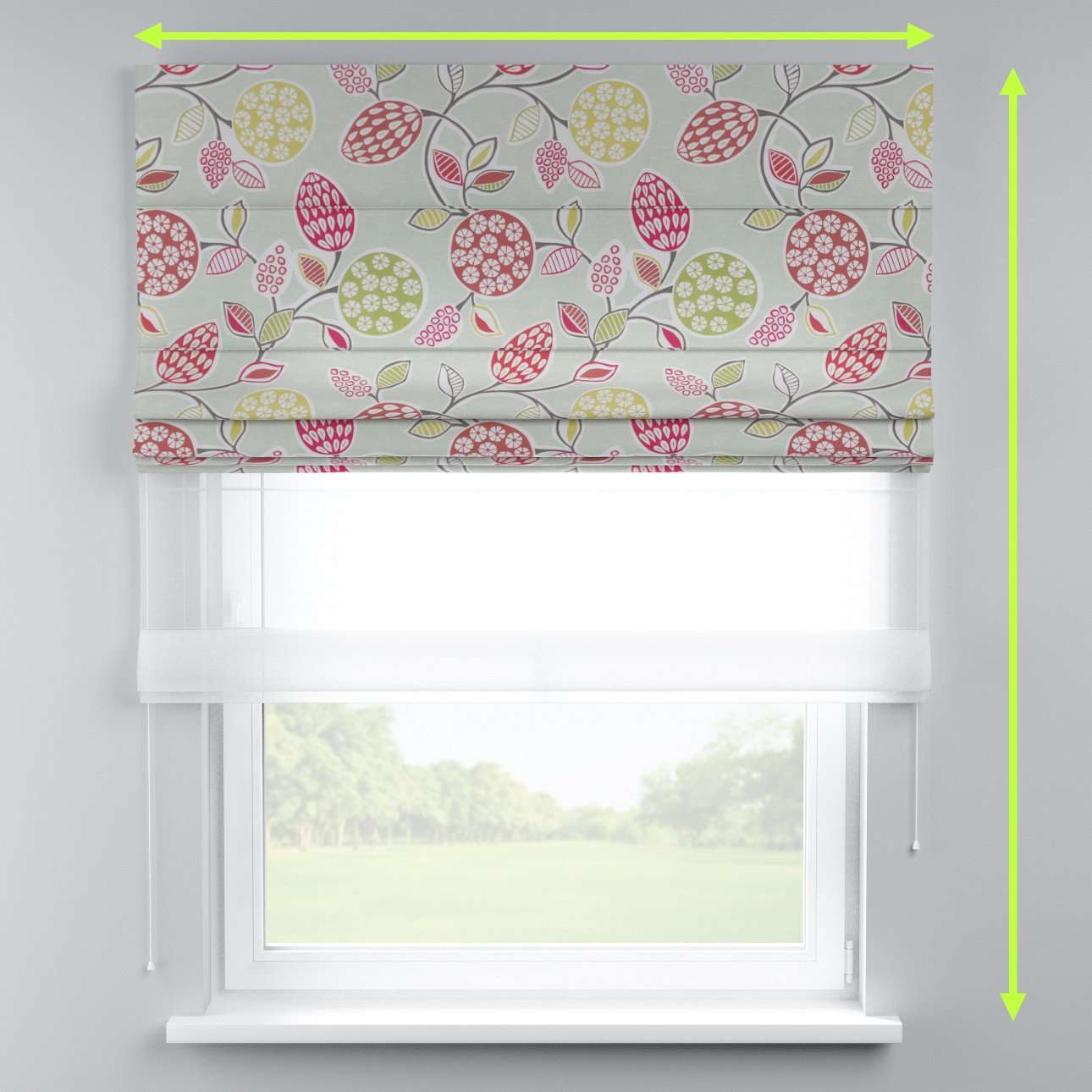 Voile and fabric roman blind (DUO II) in collection Norge, fabric: 140-78