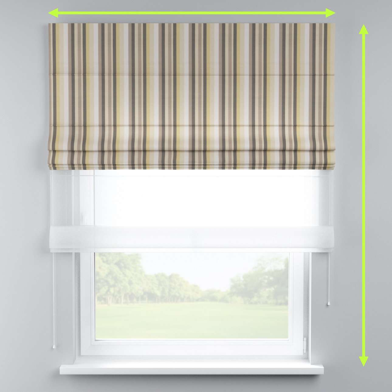 Voile and fabric roman blind (DUO II) in collection Norge, fabric: 140-80