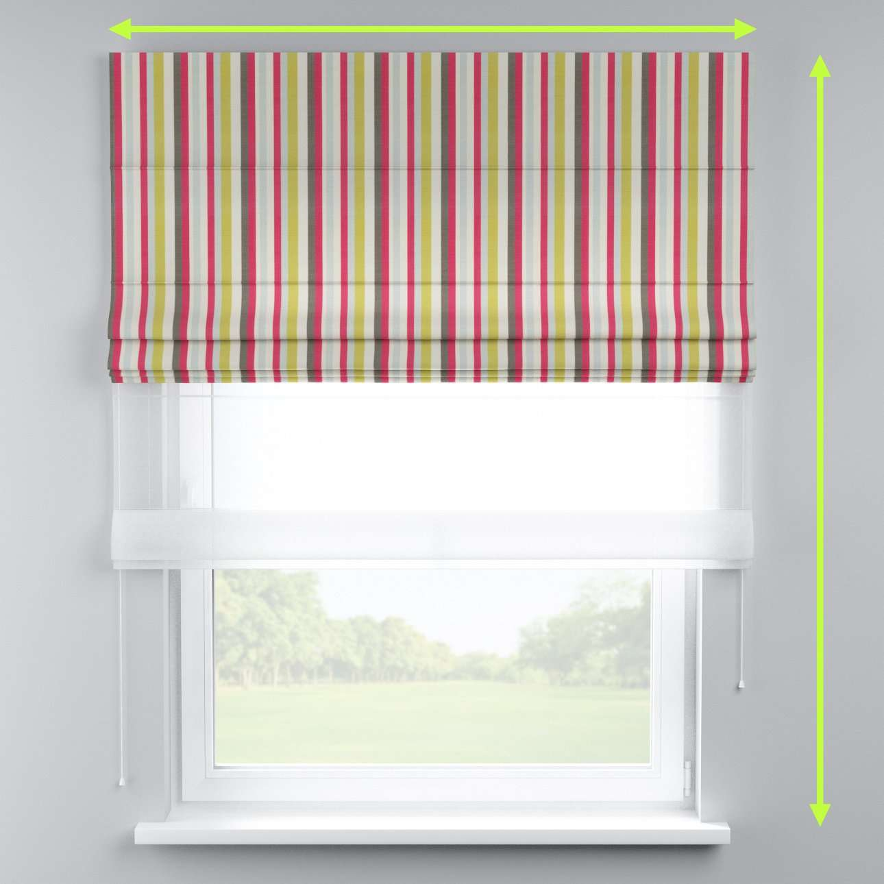 Voile and fabric roman blind (DUO II) in collection Norge, fabric: 140-81