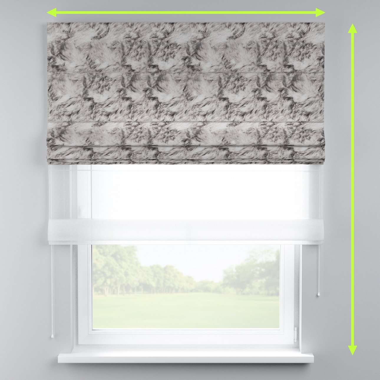 Voile and fabric roman blind (DUO II)  in collection Freestyle, fabric: 140-82