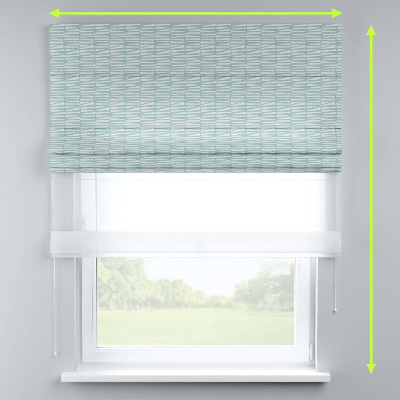 Voile and fabric roman blind (DUO II) in collection Norge, fabric: 140-83