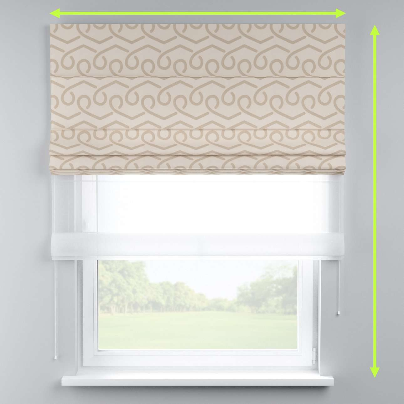 Voile and fabric roman blind (DUO II) in collection Rustica, fabric: 140-85