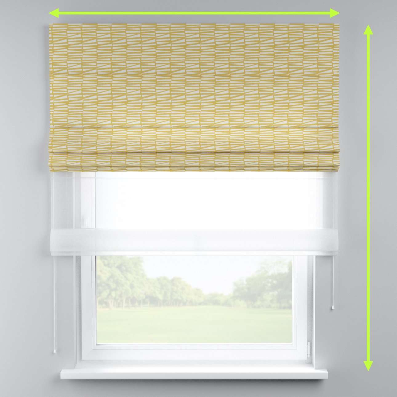 Voile and fabric roman blind (DUO II) in collection Norge, fabric: 140-86