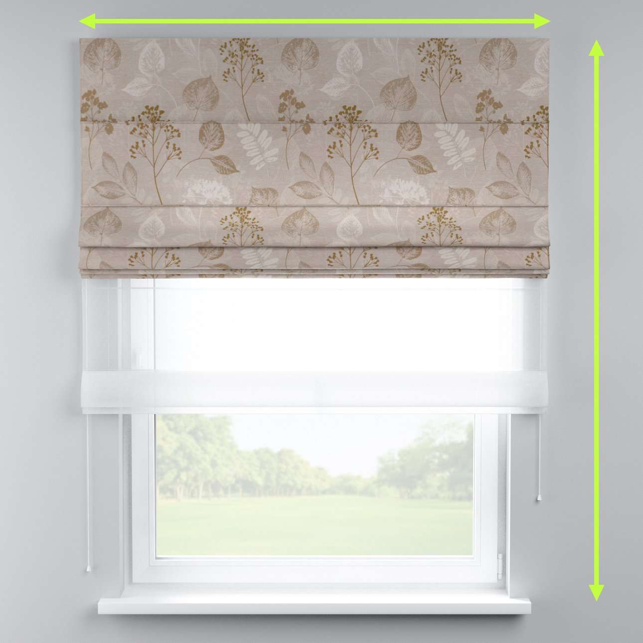 Voile and fabric roman blind (DUO II) in collection Norge, fabric: 140-87