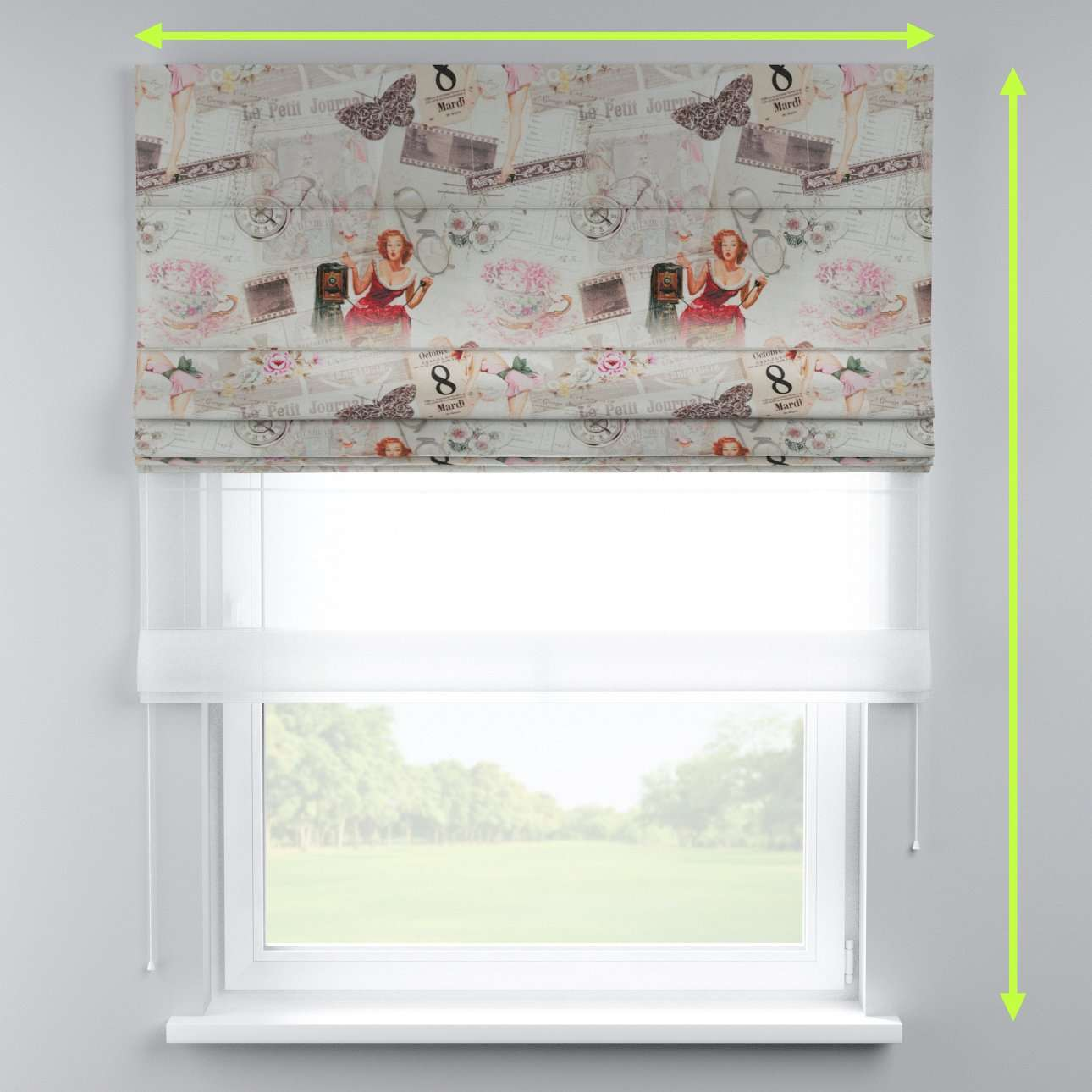 Voile and fabric roman blind (DUO II) in collection Freestyle, fabric: 140-99
