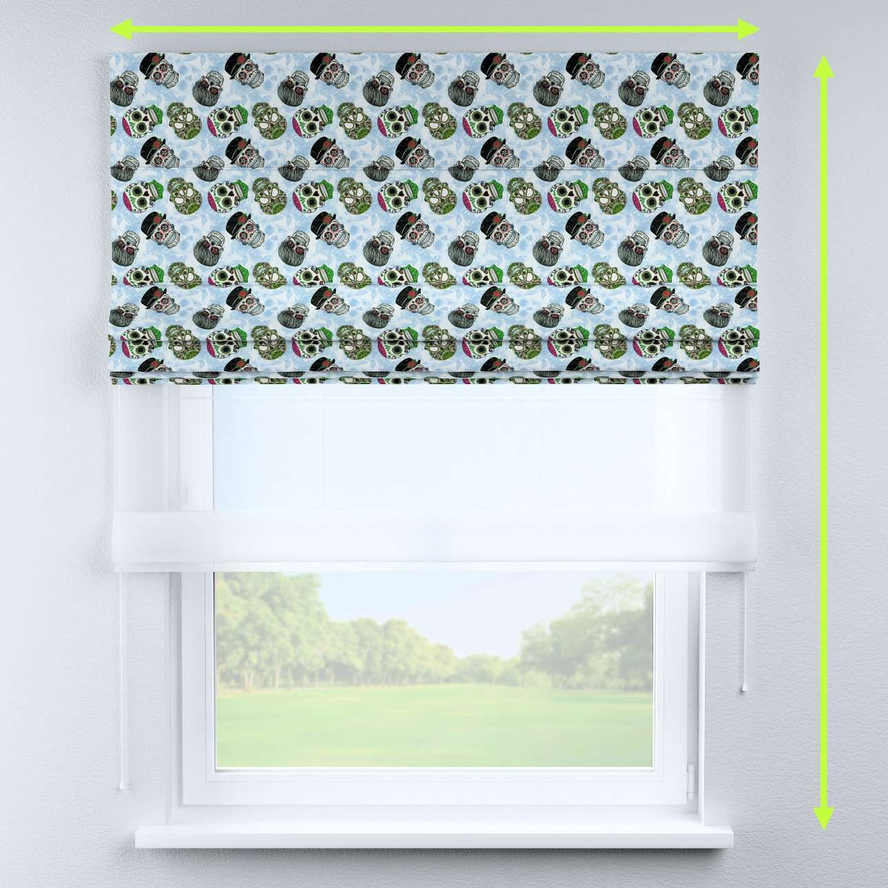 Voile and fabric roman blind (DUO II) in collection Freestyle, fabric: 141-01