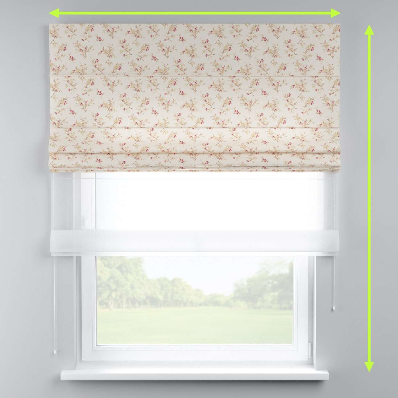 Voile and fabric roman blind (DUO II) in collection Mirella, fabric: 141-11