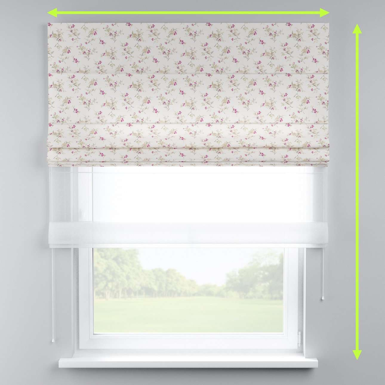 Voile and fabric roman blind (DUO II) in collection Mirella, fabric: 141-13