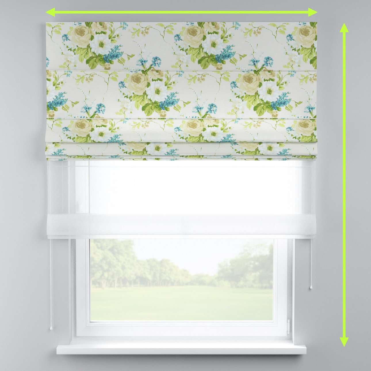Voile and fabric roman blind (DUO II) in collection Mirella, fabric: 141-15
