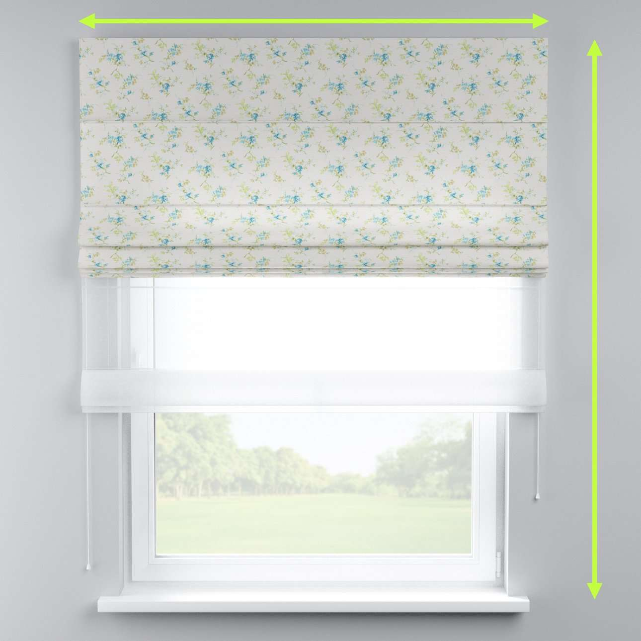 Voile and fabric roman blind (DUO II) in collection Mirella, fabric: 141-16