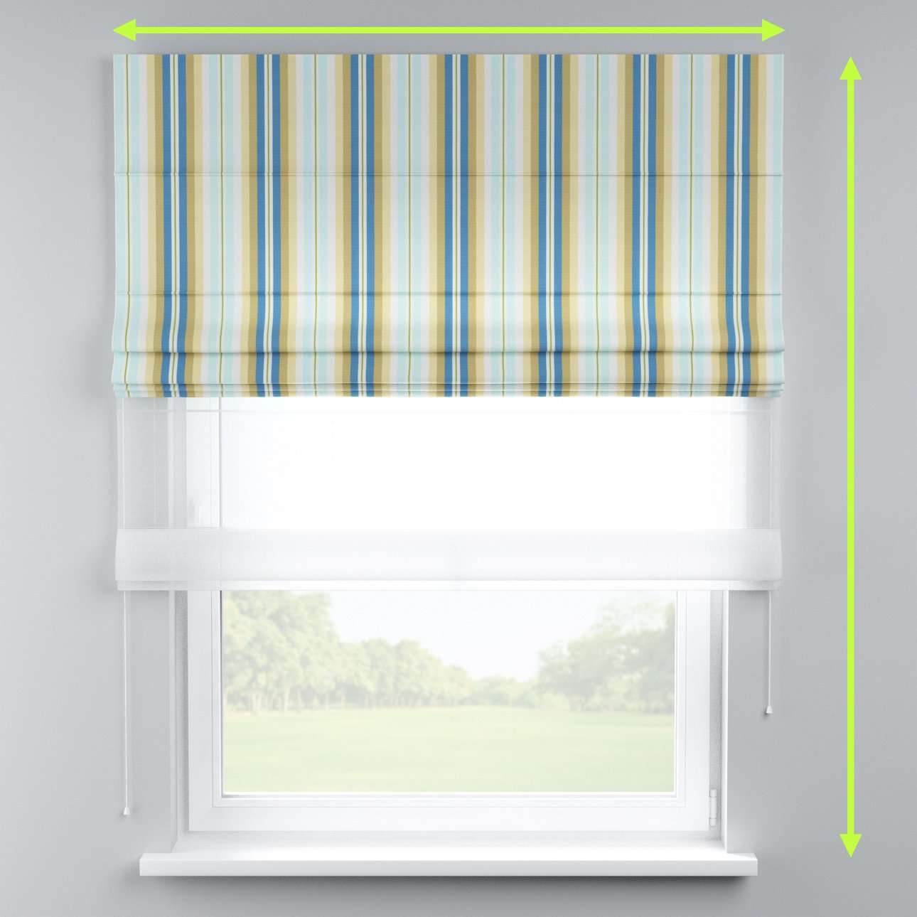 Voile and fabric roman blind (DUO II) in collection Mirella, fabric: 141-17