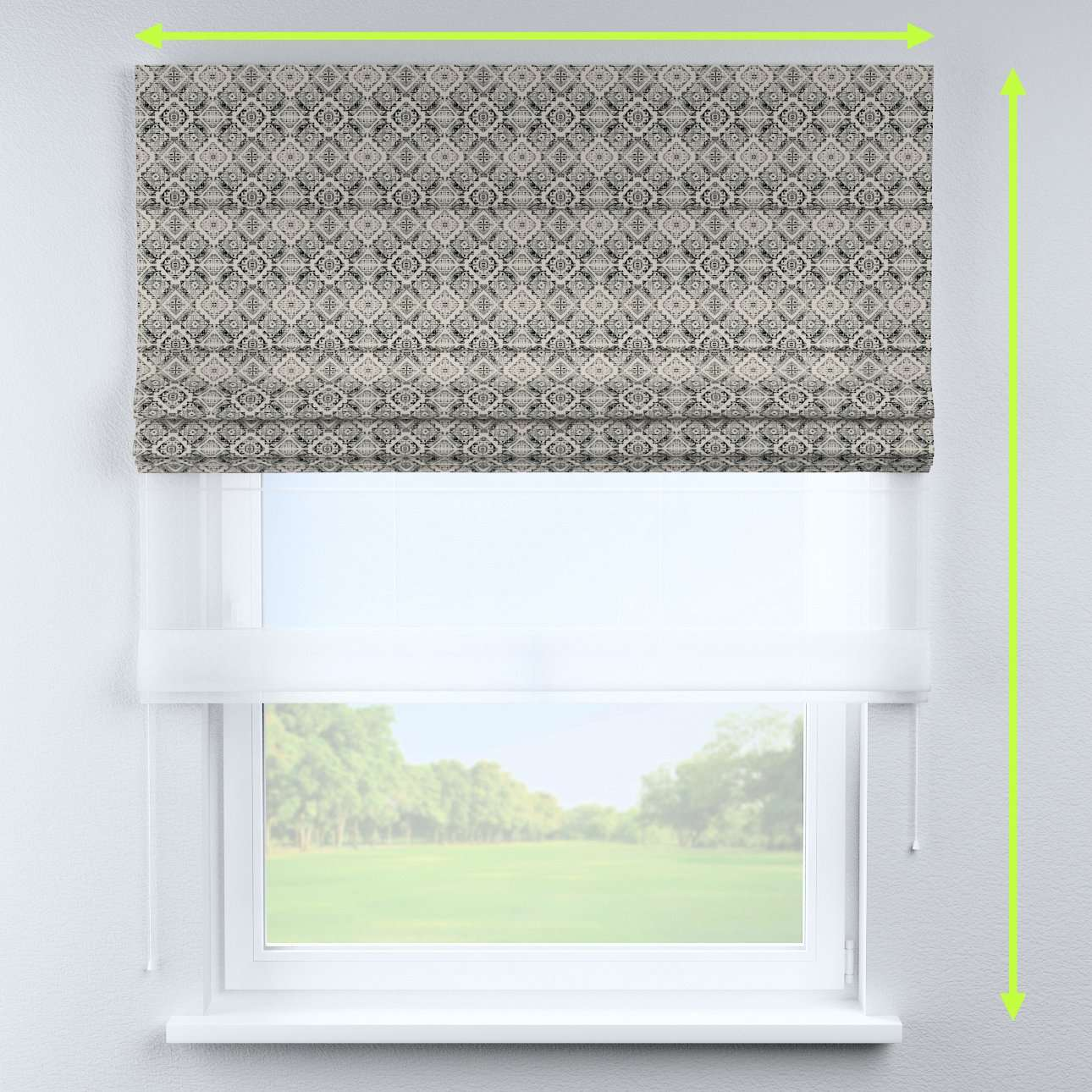 Voile and fabric roman blind (DUO II) in collection Comic Book & Geo Prints, fabric: 141-18