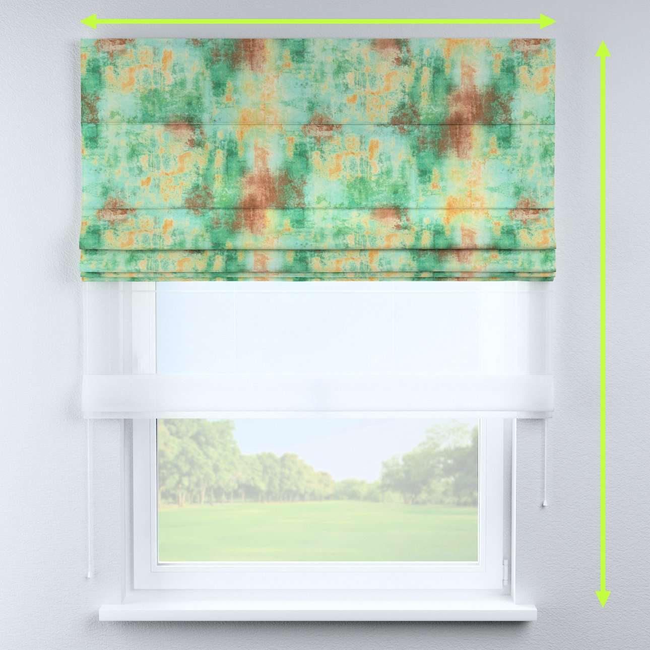 Voile and fabric roman blind (DUO II) in collection Urban Jungle, fabric: 141-22