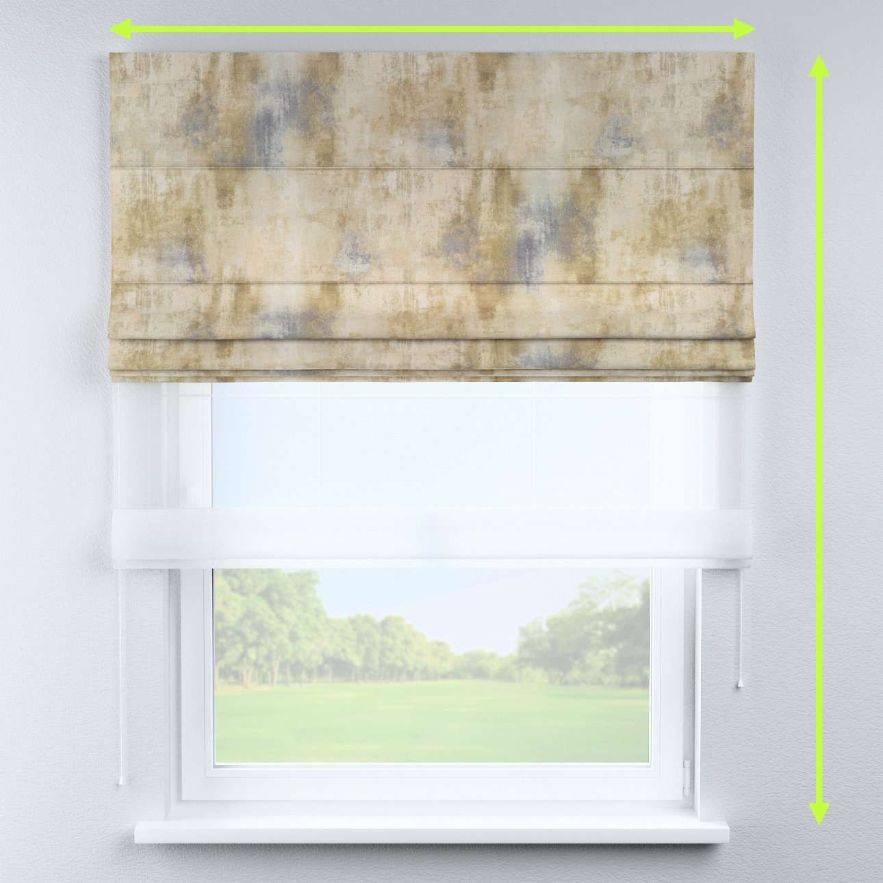 Voile and fabric roman blind (DUO II) in collection Urban Jungle, fabric: 141-23