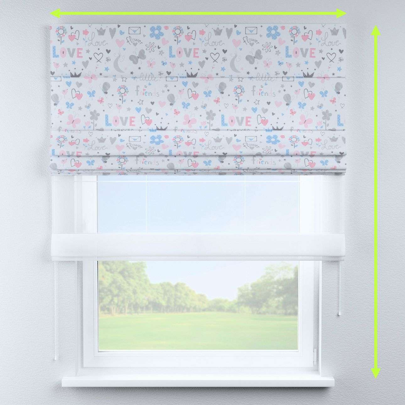 Voile and fabric roman blind (DUO II) in collection Little World, fabric: 141-27