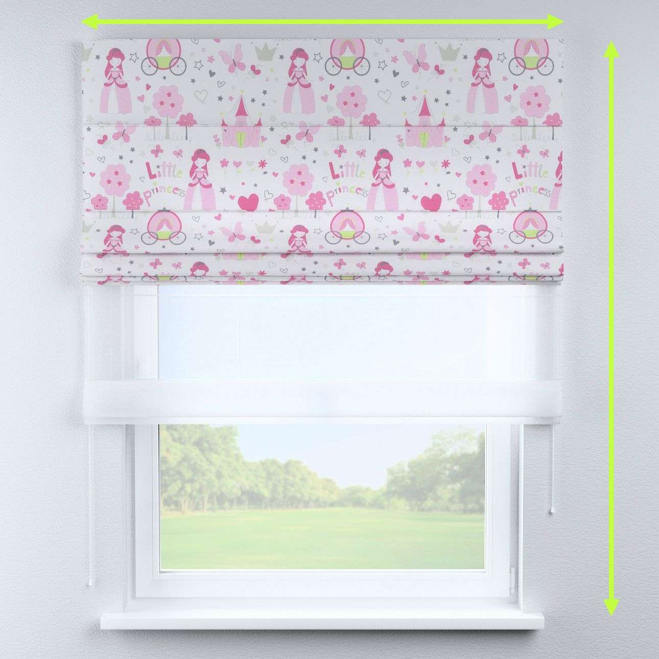 Voile and fabric roman blind (DUO II) in collection Little World, fabric: 141-28