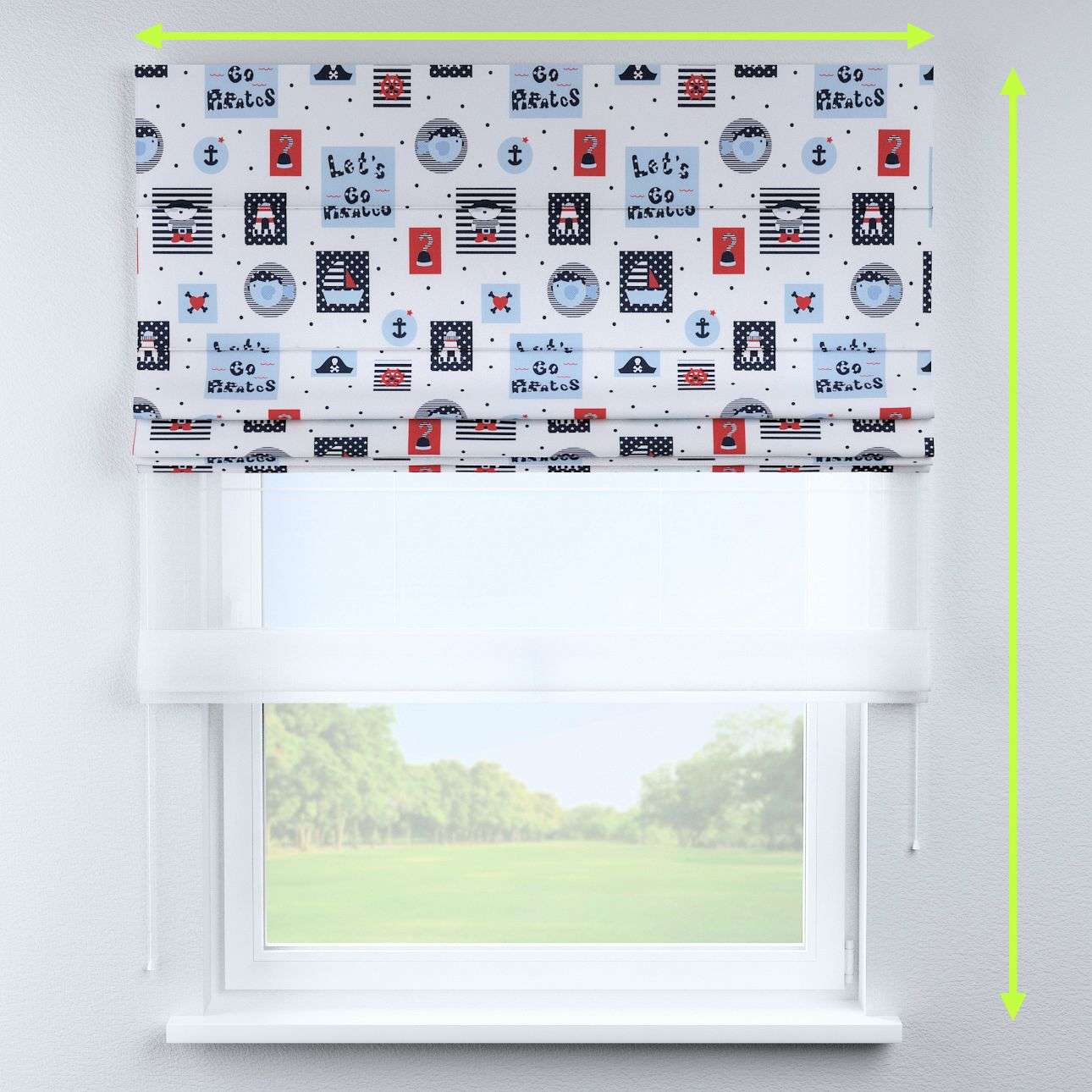 Voile and fabric roman blind (DUO II) in collection Little World, fabric: 141-29