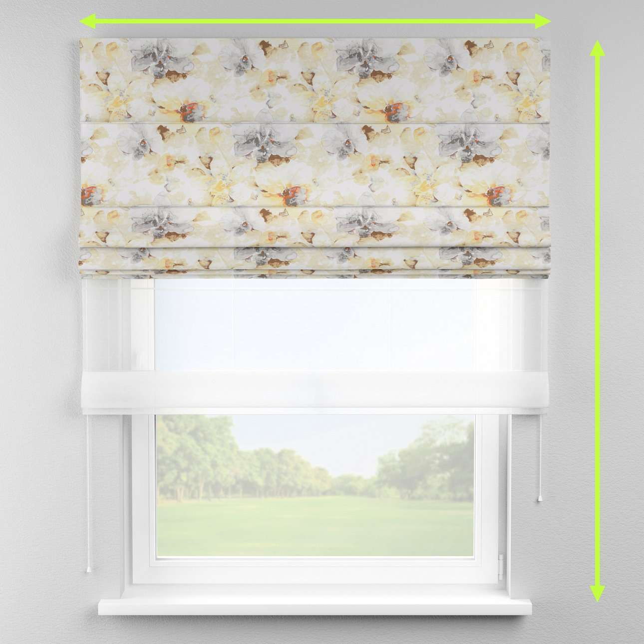 Voile and fabric roman blind (DUO II) in collection Acapulco, fabric: 141-33