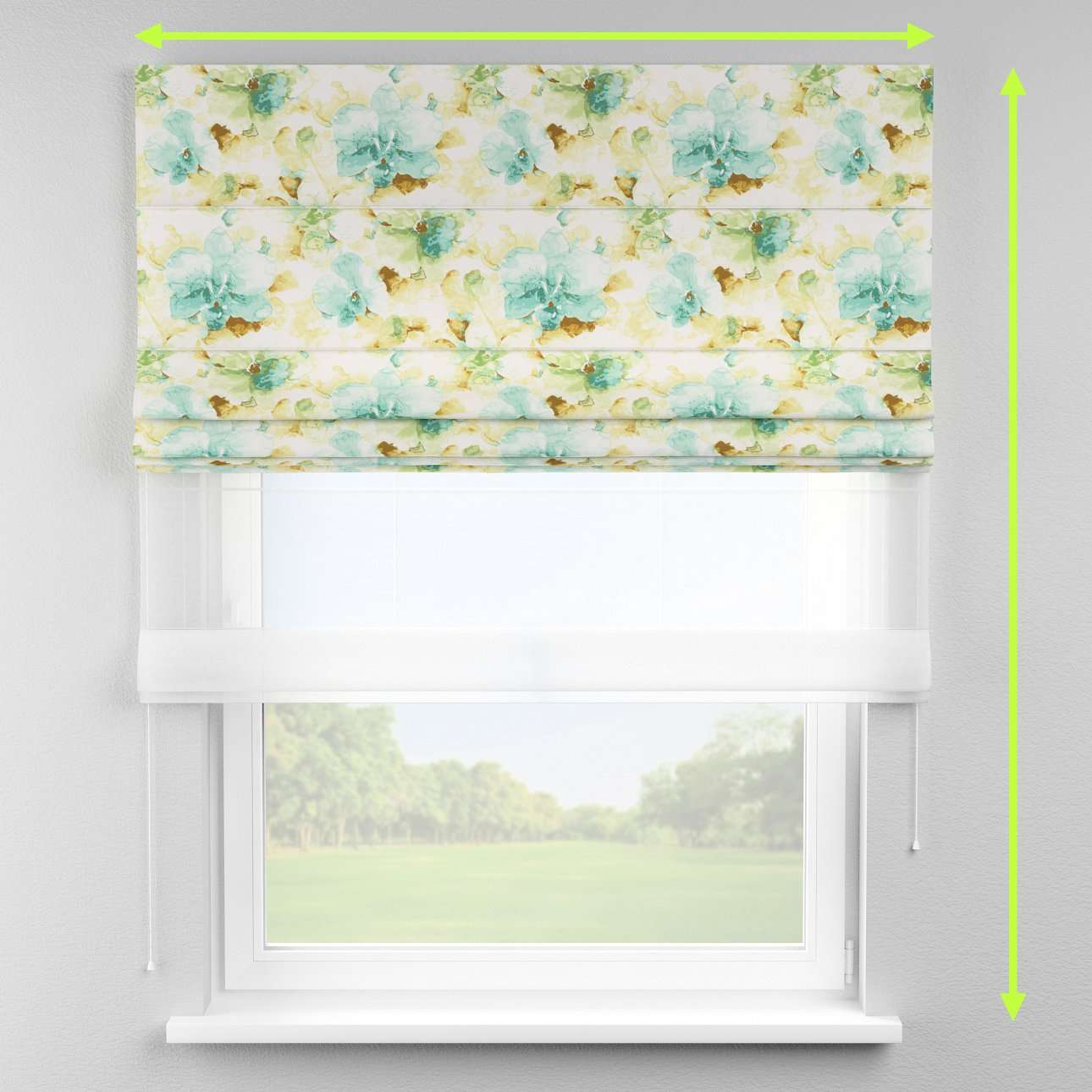 Voile and fabric roman blind (DUO II) in collection Acapulco, fabric: 141-35