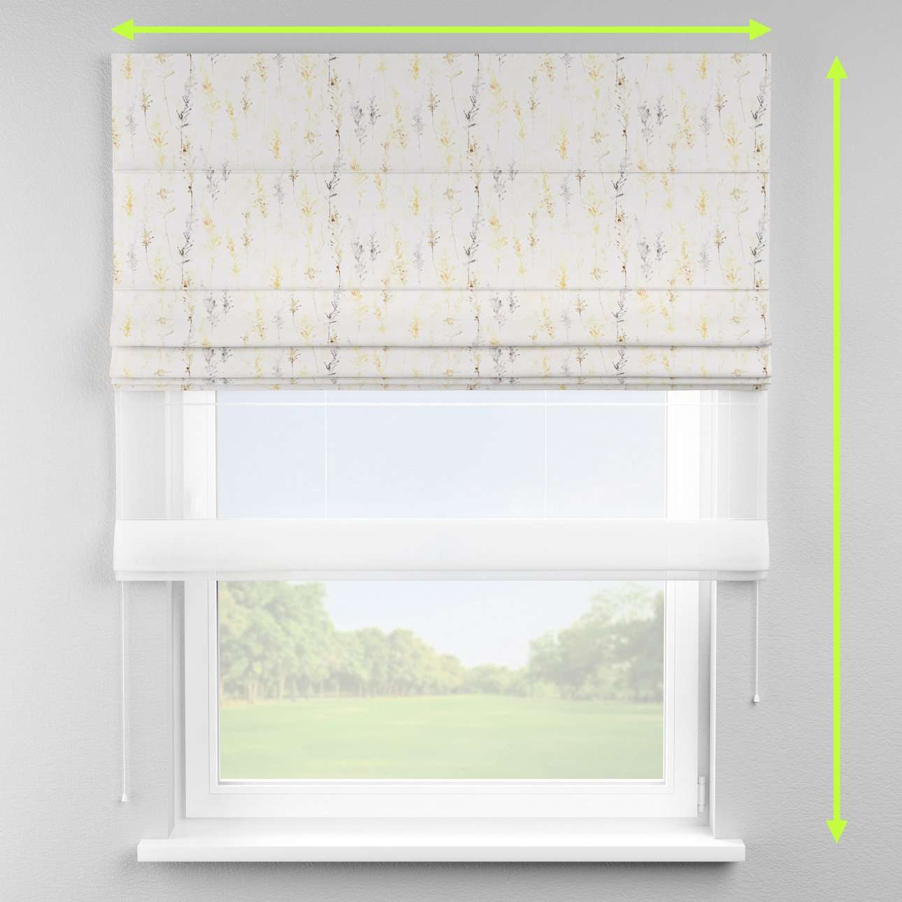 Voile and fabric roman blind (DUO II) in collection Acapulco, fabric: 141-36