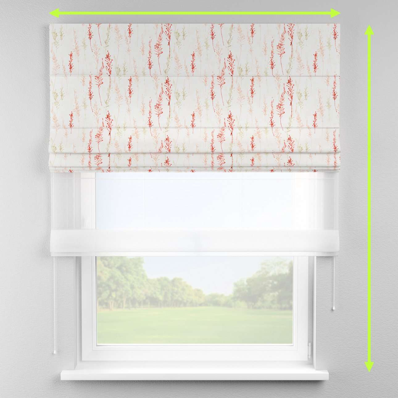 Voile and fabric roman blind (DUO II) in collection Acapulco, fabric: 141-37
