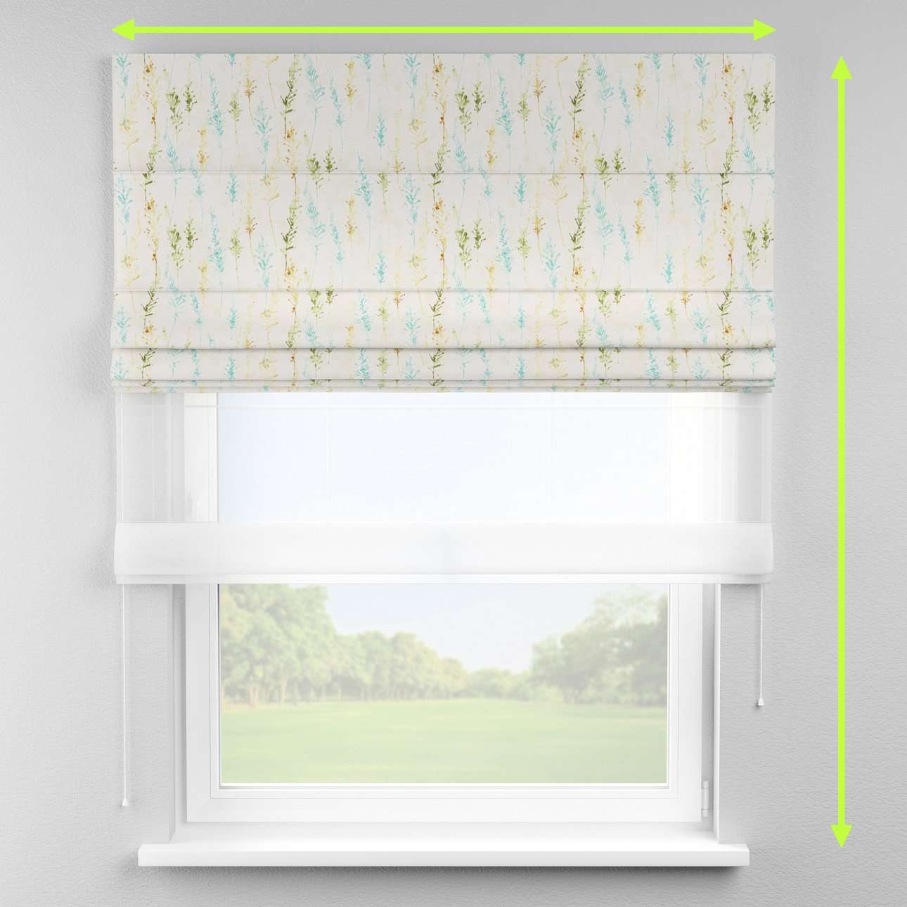 Voile and fabric roman blind (DUO II) in collection Acapulco, fabric: 141-38