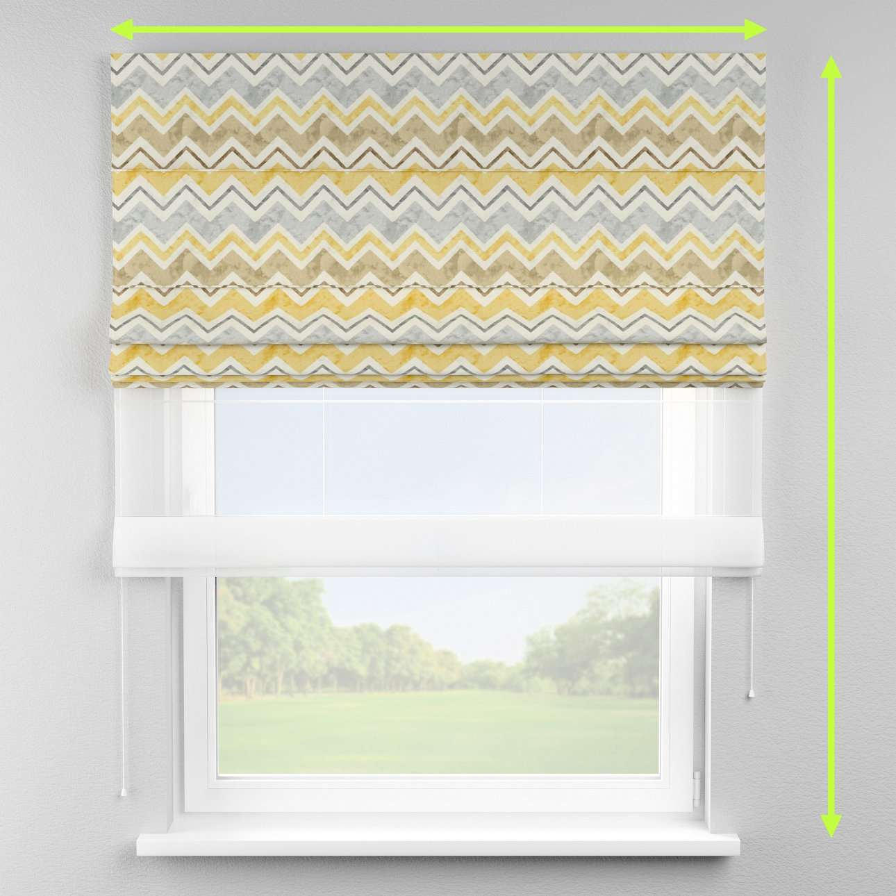 Voile and fabric roman blind (DUO II) in collection Acapulco, fabric: 141-39