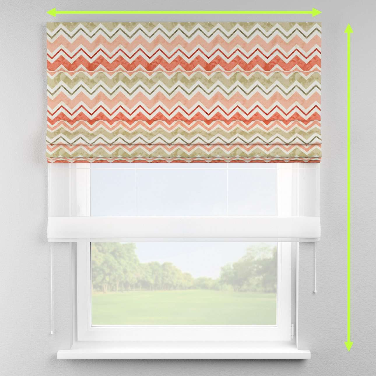 Voile and fabric roman blind (DUO II) in collection Acapulco, fabric: 141-40
