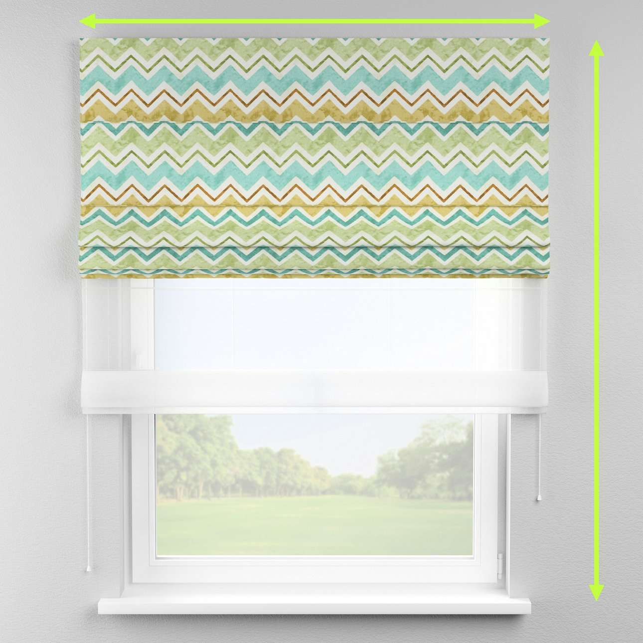 Voile and fabric roman blind (DUO II) in collection Acapulco, fabric: 141-41