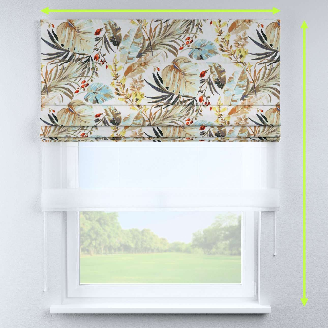 Voile and fabric roman blind (DUO II) in collection Urban Jungle, fabric: 141-42
