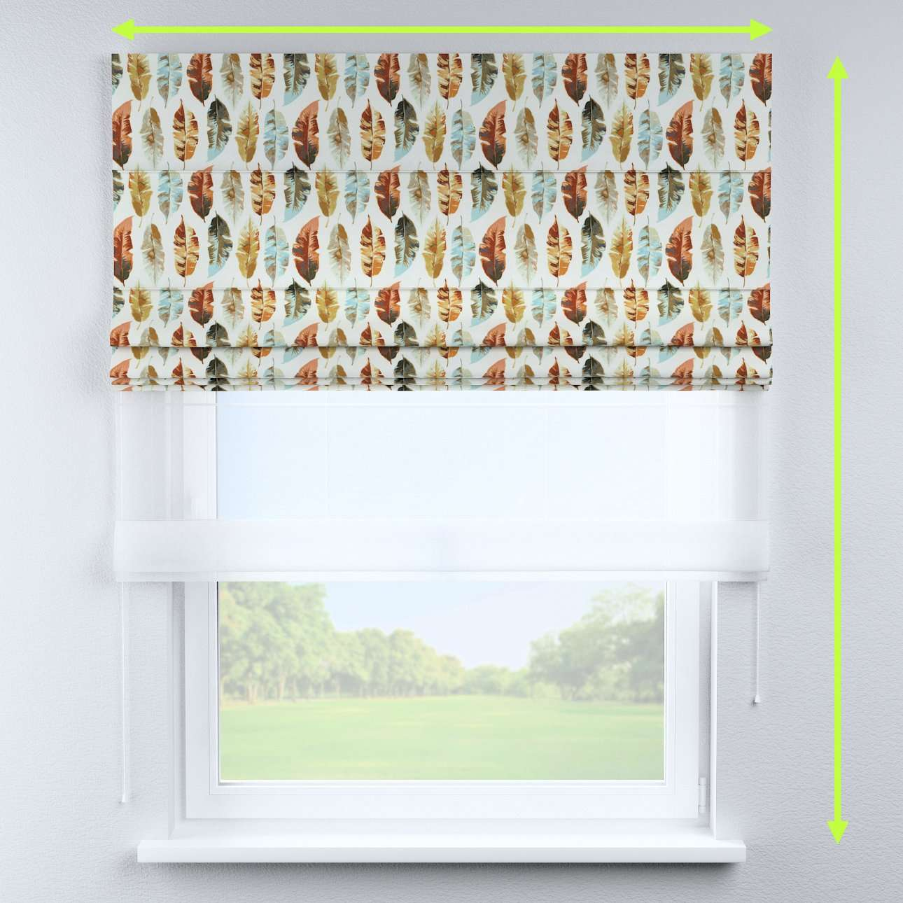 Voile and fabric roman blind (DUO II) in collection Urban Jungle, fabric: 141-43