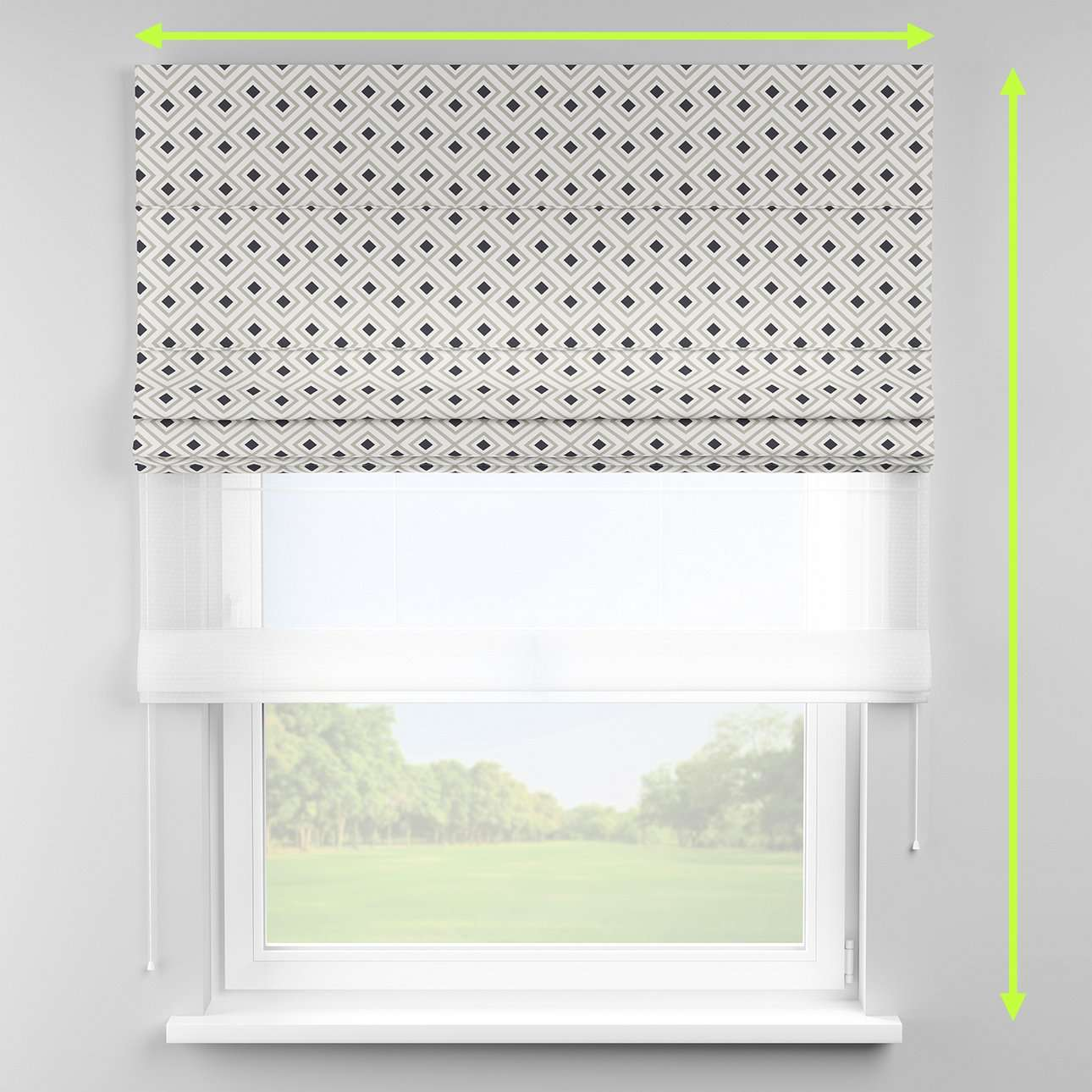Voile and fabric roman blind (DUO II) in collection Geometric, fabric: 141-44