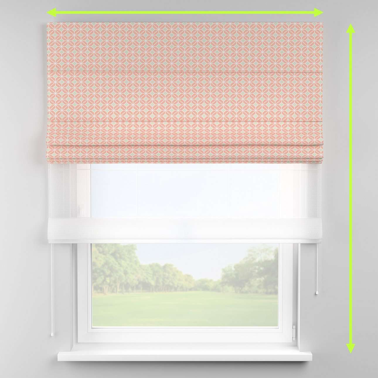 Voile and fabric roman blind (DUO II) in collection Geometric, fabric: 141-48
