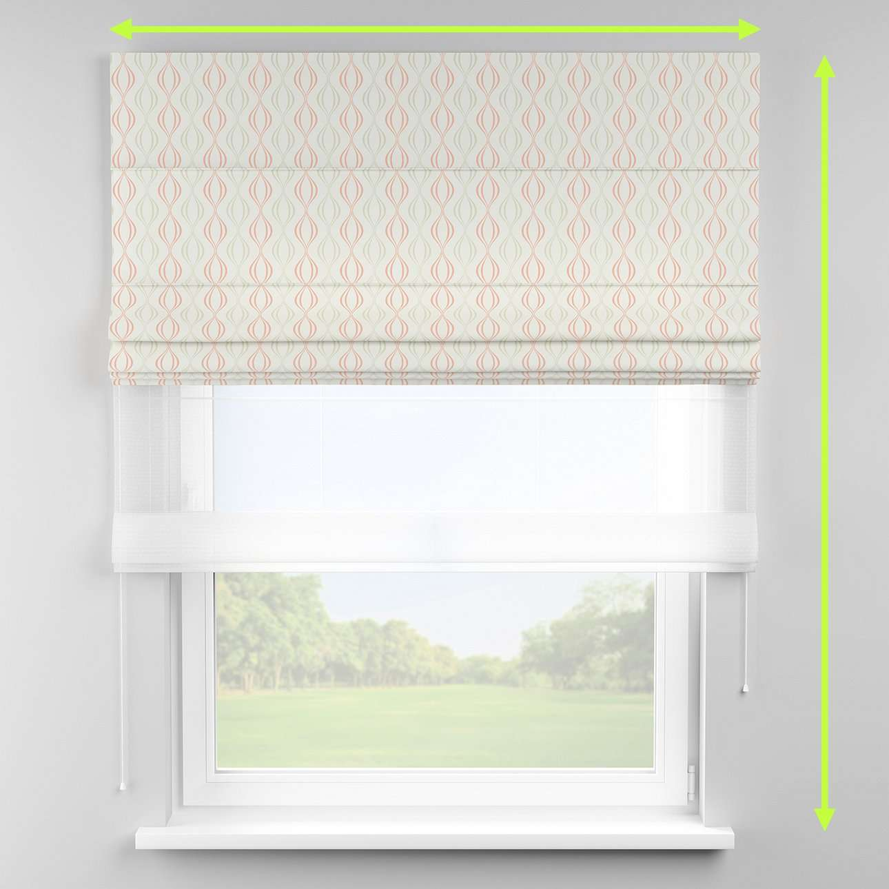 Voile and fabric roman blind (DUO II) in collection Geometric, fabric: 141-49