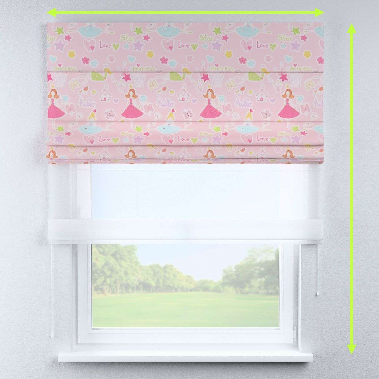 Voile and fabric roman blind (DUO II) in collection Little World, fabric: 141-50