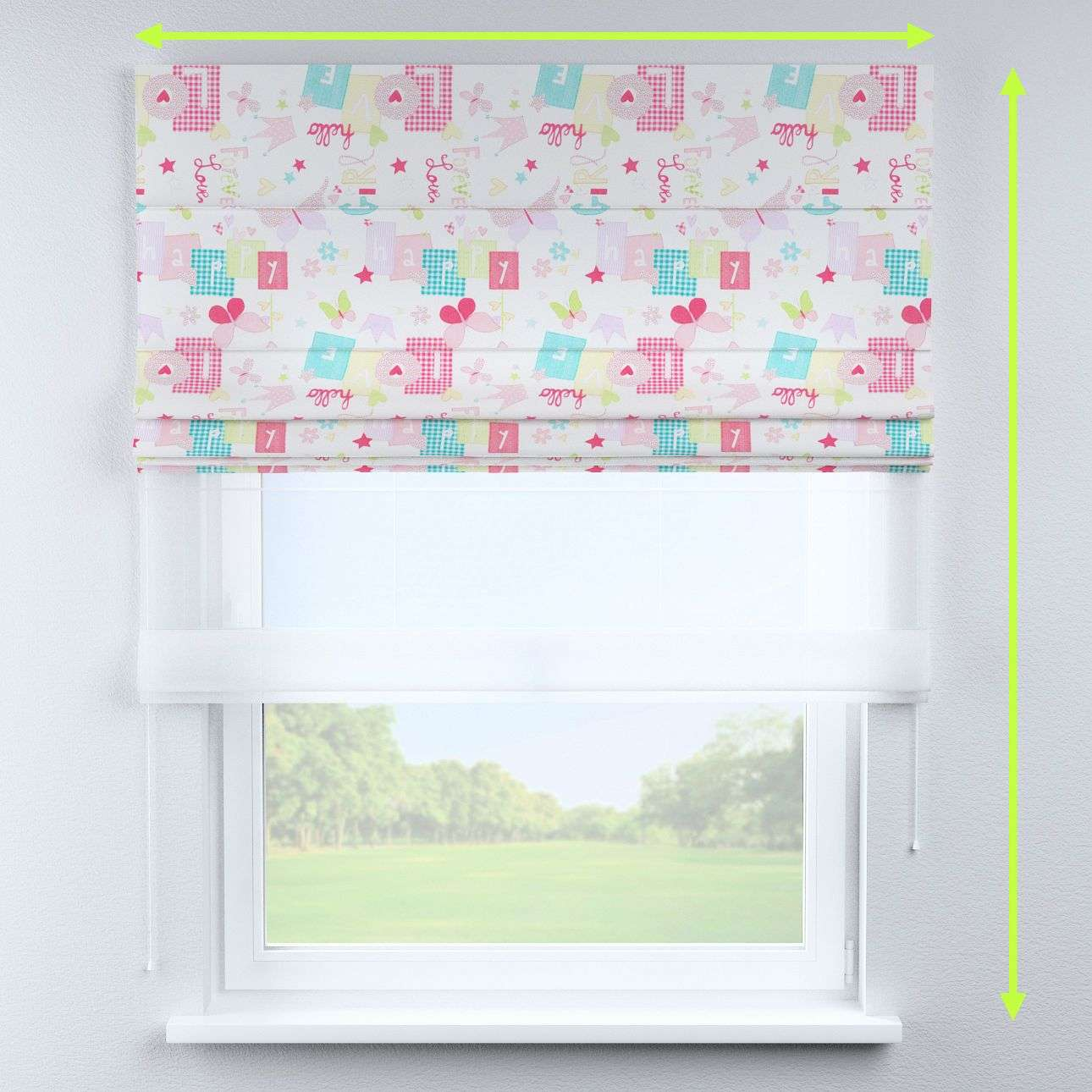 Voile and fabric roman blind (DUO II) in collection Little World, fabric: 141-51