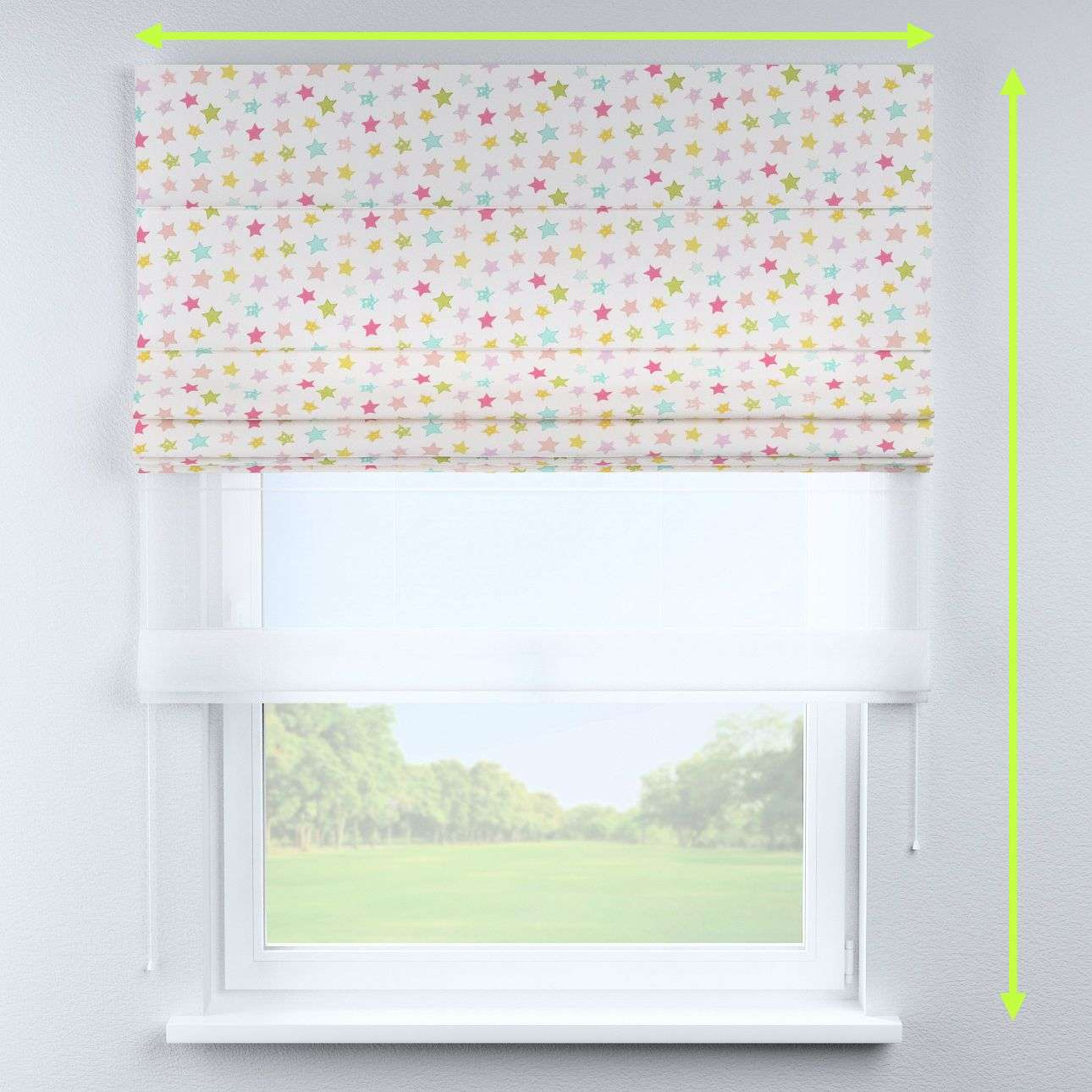 Voile and fabric roman blind (DUO II) in collection Little World, fabric: 141-52